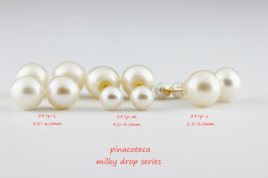 pinacoteca 597P-M Milky Drop M Pearl Stud Earrings K18,�ѡ��륭��å� ��γ�ѡ���ԥ��� 18�� �ԥʥ��ơ���