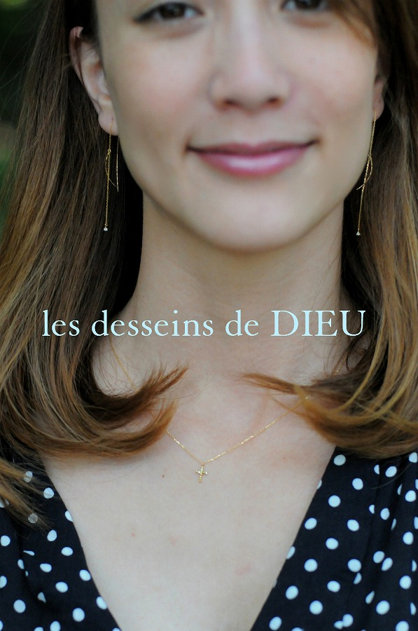 レデッサンドゥデュー 715 アシンメトリー ドット クロス ネックレス 18金,les desseins de DIEU Dot Cross Necklace K18
