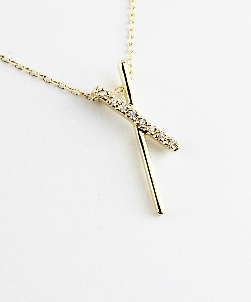 レデッサンドゥデュー 558 ティルティド クロス ダイヤモンド ネックレス 18金,les desseins de DIEU Tilted Cross Diamond Necklace K18