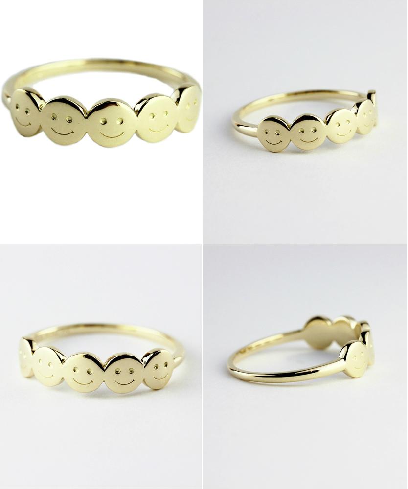 レデッサンドゥデュー 950 スマイル にこちゃん リング クゥインタプリツ 18金,les desseins de DIEU Quintuplets Smiley Ring K18