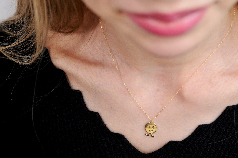 レデッサンドゥデュー 951 ハッピー ダンス スマイル ニコちゃん ネックレス 18金,les desseins de DIEU Smile Necklace K18