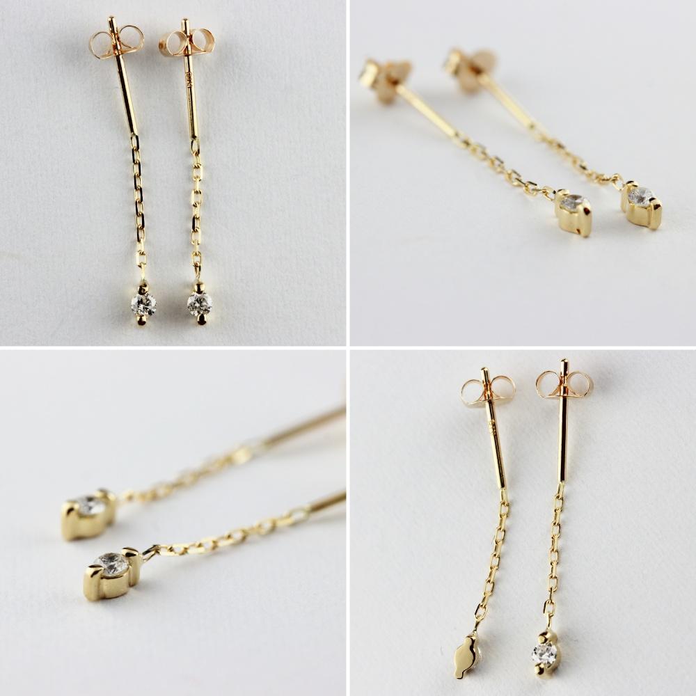 華奢 一粒ダイヤ ピアス,pinacoteca 335 Moon Drop Diamond American Earrings,ピナコテーカ ムーン ドロップ 一粒 ダイヤモンド アメリカン ピアス 0.026ct