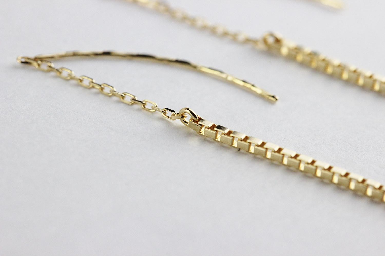 ピナコテーカ 694 エレガント ライン ベネチアン コンビ 華奢ピアス 18金,pinacoteca Elegant Line Venetian Chain Earrings K18