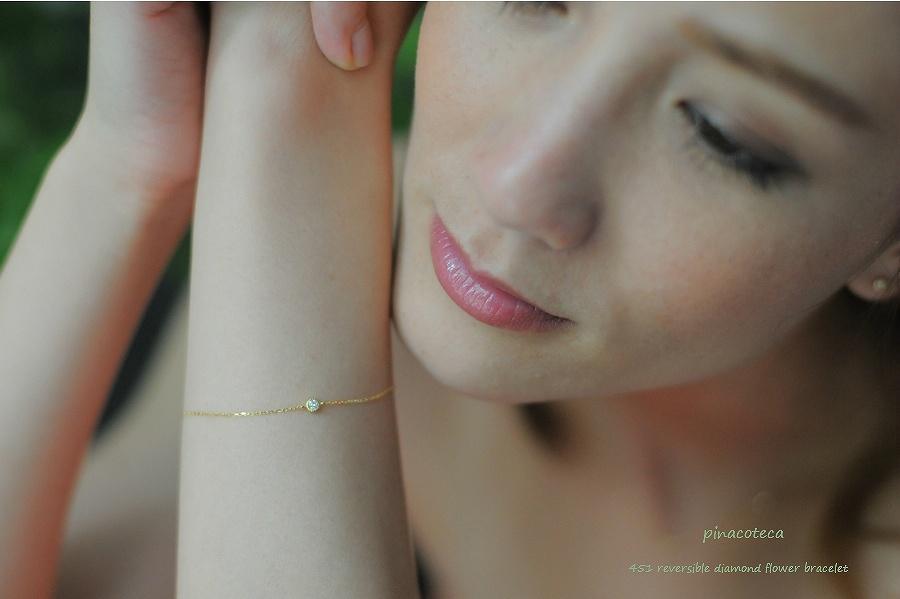 pinacoteca 451 Solitaire Diamond Floral Cross Bracelet,一粒ダイヤ ミル打ち 華奢 ブレスレット K18 ピナコテーカ