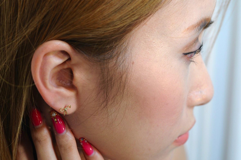 レデッサンドゥデュー 433 ラブ ノット リボン スタッド ピアス18金,les desseins de DIEU Love Knot Ribbon Stud Earrings K18