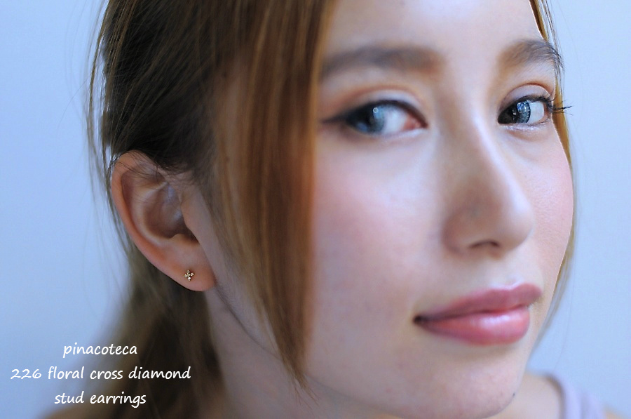 pinacoteca 226 フローラル クロス ダイヤモンド スタッド 華奢ピアス K18,ピナコテーカ Floral Cross Diamond Stud Earrings 18金